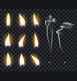 realistic candle flames candlelight fire flame vector image