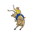 rodeo cowboy bull riding cartoon vector image vector image