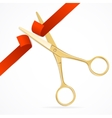 Scissors Cut Red Ribbon vector image