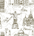 seamless pattern famous landmarks vector image vector image