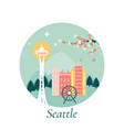 seattle city with landmarks vector image vector image