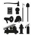 Set icons of firefighting equipment black vector | Price: 1 Credit (USD $1)