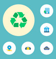 set of urban icons flat style symbols with village vector image vector image