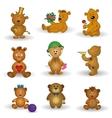 Set toy teddy bears vector image vector image