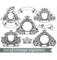 Set vintage emblem with crowns and ribbons