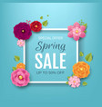 spring sale poster with flowers background vector image