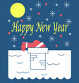 the new years card with santa claus on a roof vector image