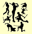 using weapon martial art silhouette vector image vector image