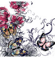 vintage background butterflies and flowers vector image