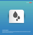 water drop icon - blue sticker button vector image