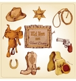 Wild west set colored vector image vector image