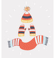 winter knitted set vector image vector image