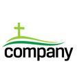 green cross silhouette logo vector image