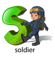 A letter S for soldier vector image vector image