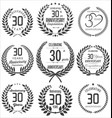 anniversary laurel wreath collection 30 years vector image vector image