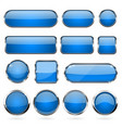 blue glass buttons with metal frame collection of vector image vector image