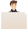 businessman looking at blank poster on top vector image vector image