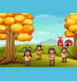 cartoon kids native indian american in farm backgr vector image vector image