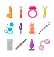cartoon sex toys set vector image
