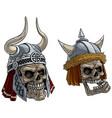 cartoon viking warrior skulls in metal helmet vector image vector image