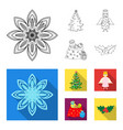 christmas tree angel gifts and holly outline vector image vector image