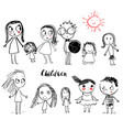 cute doodle children vector image