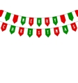 Decorative flags on greeting card template for a