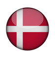 denmark flag in glossy round button of icon vector image