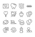 dental line icon set vector image vector image