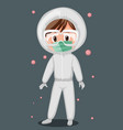 doctor wearing mask and goggles with virus vector image vector image