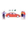 electro eco car seller sell auto couple man woman vector image