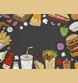 fast food background top view on black background vector image vector image