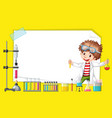 frame template design with kid in science lab vector image vector image