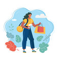girl with bags on sale vector image vector image