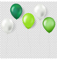green balloons isolated transparent background vector image vector image