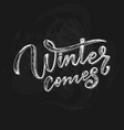 hand drawn lettering phrase winter comes for card vector image vector image