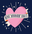 heart shape with ribbon and message love vector image