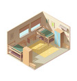 hostel hotel room isometric interior vector image vector image