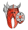Humor strong salmon Viking dressed in armor vector image vector image