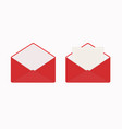 letter in open red envelope blank sheet of paper vector image vector image