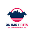 logo wolf animal city vector image vector image