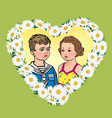 love greeting card kids portrait in heart shape vector image