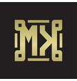 mk logo monogram with piece line art design vector image vector image