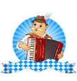 oktoberfest accordion player with stripe for text vector image vector image