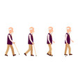 old man process of movement colorful set vector image