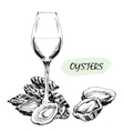 Oysters and wine glass vector image vector image