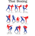 postures of anceint mueythai or thai kick boxing vector image