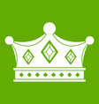 prince crown icon green vector image vector image