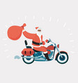 santa claus on motorbike vector image