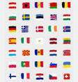 set flag in flat design on a grey background vector image